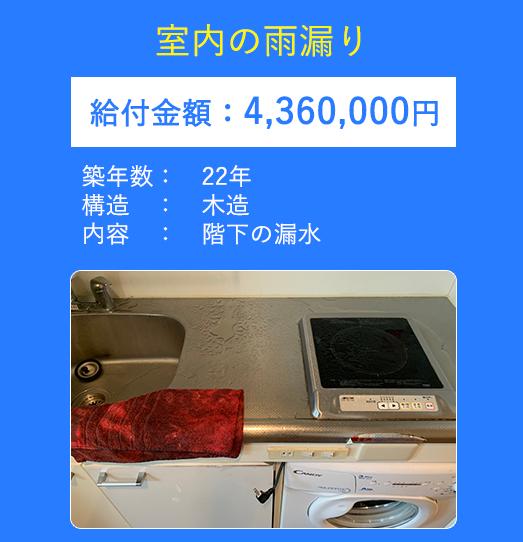 室内の雨漏り 給付金額:4360000円